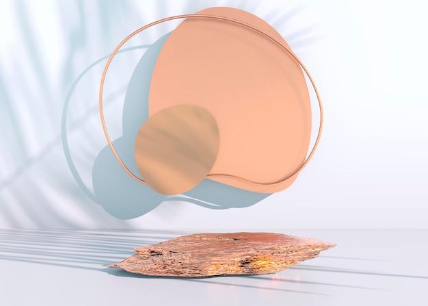 Pódio de pedra em fundo pastel, para exposição de produtos, em branco para design de maquete. renderização 3d.