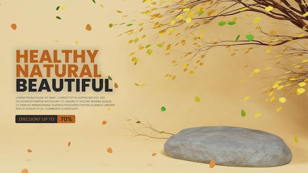 Pódio de pedra natural com cena de outono