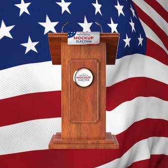 Pódio de simulação da eleição presidencial dos estados unidos com bandeira americana