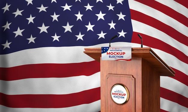 Pódio de simulação da eleição presidencial dos estados unidos com bandeira