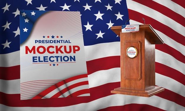 Pódio de simulação da eleição presidencial e pôster para os estados unidos
