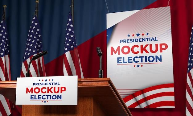 Pódio de simulação da eleição presidencial para os estados unidos