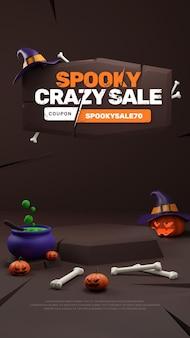 Pódio de venda com desconto na promoção do dia das bruxas 3d