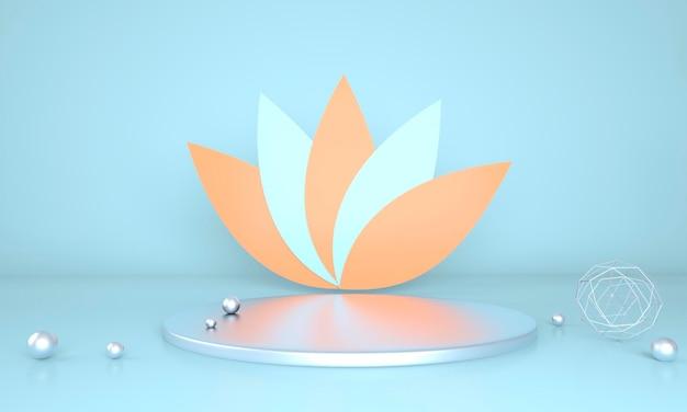 Pódio decorado com folhas em renderização 3d