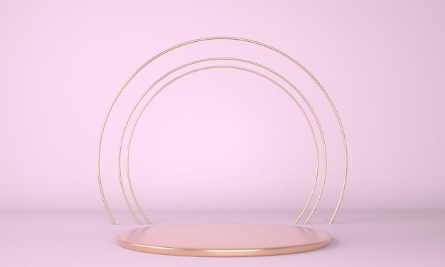 Pódio do produto em fundo pastel em renderização 3d