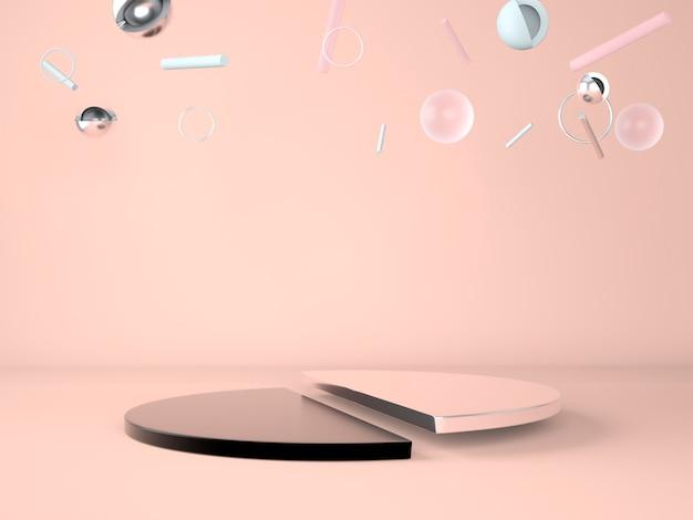 Pódio do produto em fundo pastel, palco de exposição e apresentação de marketing empresarial