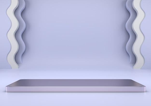 Pódio do produto na renderização do conceito de geometria mínima 3d