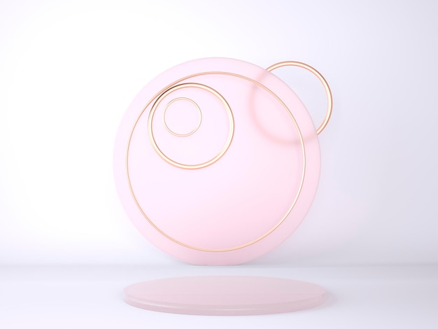 Pódio do produto no conceito de geometria de fundo pastel
