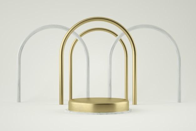 Pódio dourado com arcos