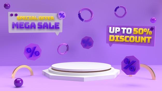 Pódio editável 3d roxo para publicidade de produtos com desconto e identidade de marca