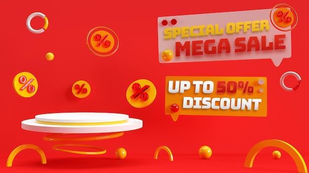 Pódio editável em 3d rubi vermelho para publicidade de produtos com desconto e identidade de marca