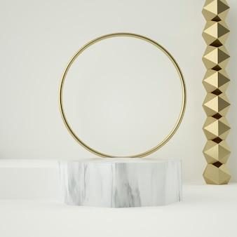 Pódio em mármore e ornamentos de ouro