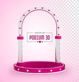 Pódio em renderização 3d com formas de coração para o dia dos namorados