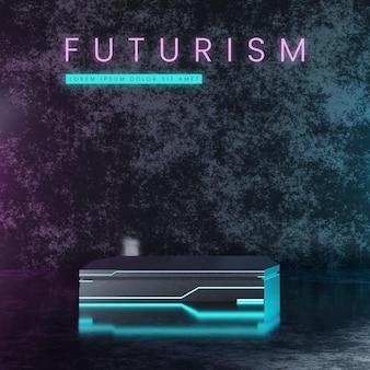 Pódio futurista de metal com néon