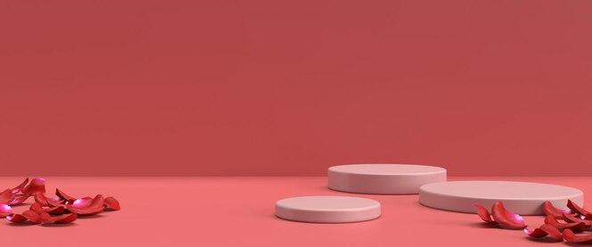 Pódio para colocação de produtos para o dia dos namorados em renderização 3d