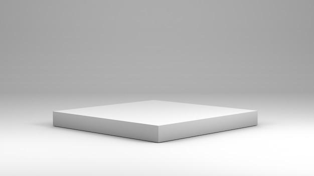 Pódio quadrado branco para exibir produtos em renderização 3d