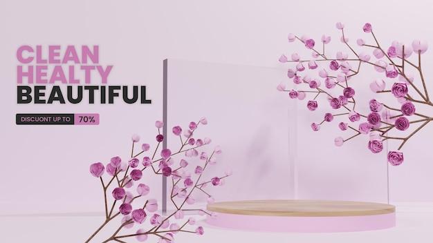 Pódio rosa com árvore de flor de cereja