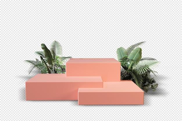 Pódio rosa com folhas em d renderização isoladas