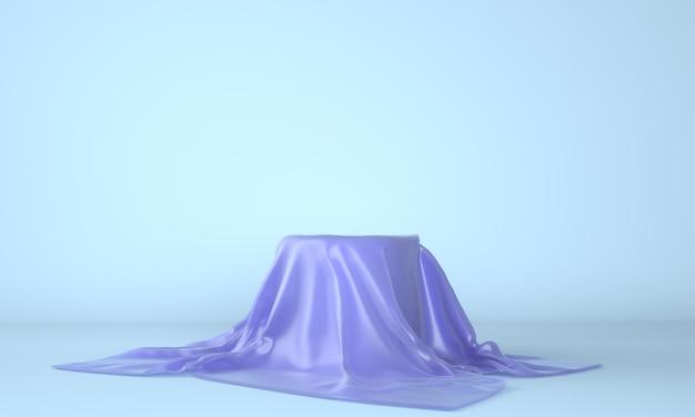 Pódio vazio coberto com pano azul