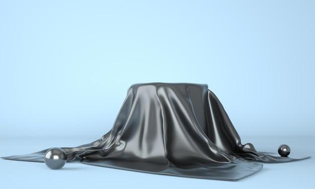 Pódio vazio coberto com pano preto