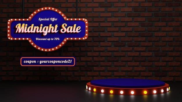 Pódio vintage de venda à meia-noite com efeito de sinal e texto