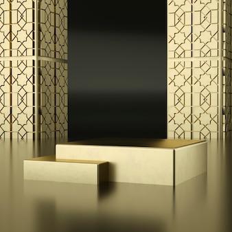 Pódios de ouro com paredes douradas com detalhes