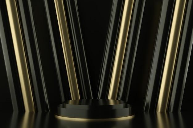 Pódios em preto e dourado para apresentação do produto