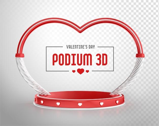 Podium 3d render com formato de arco e coração para dia dos namorados Psd Premium