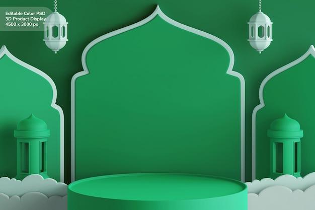 Podium product display 3d render tema ramadan eid mubarak