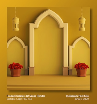 Podium product display 3d render tema ramadan eid mubarak
