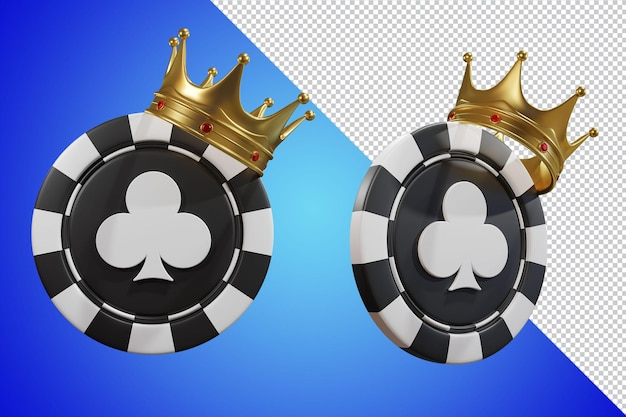 Poker chip king crown 3d render isolado