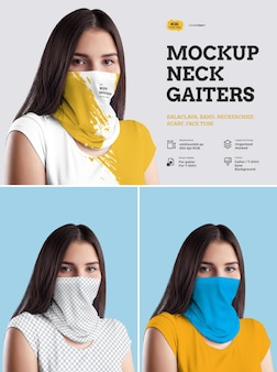 Polainas de pescoço de mockups. o design é fácil em personalizar as imagens de design polainas e camiseta, cor das polainas e camiseta e olhos.