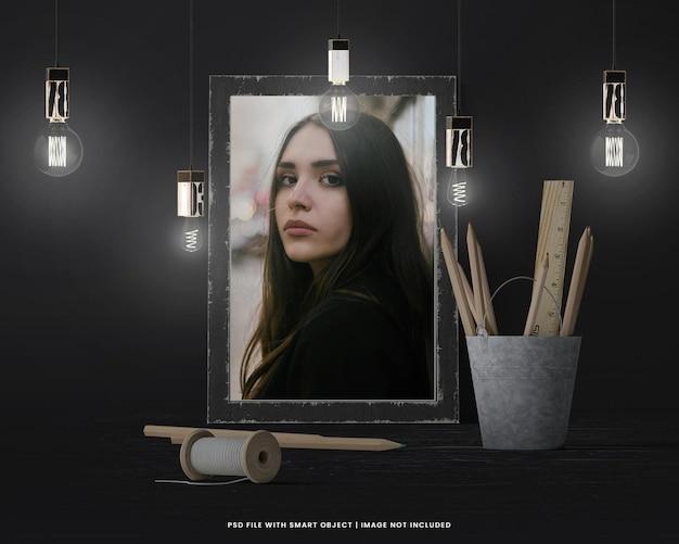 Polaroid com moldura quadrada com efeito de luz premium psd