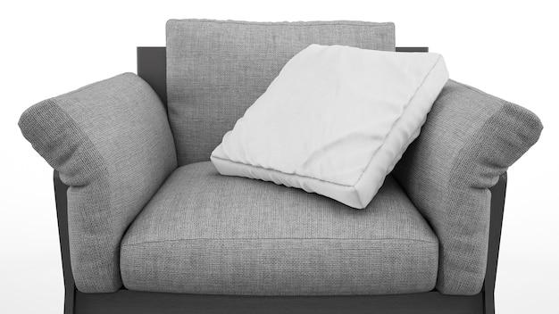 Poltrona cinza elegante com almofada isolada