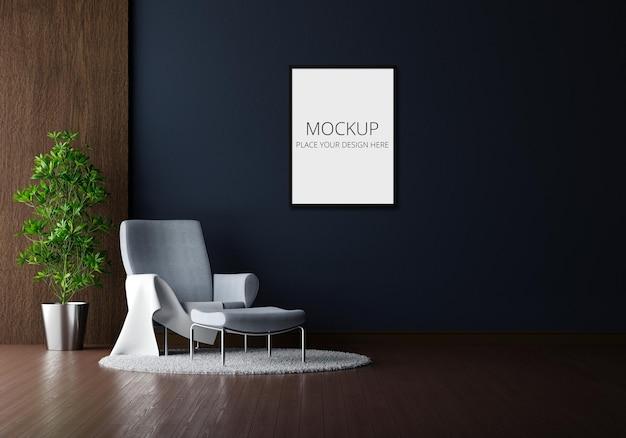 Poltrona cinza na sala de estar preta com maquete de moldura