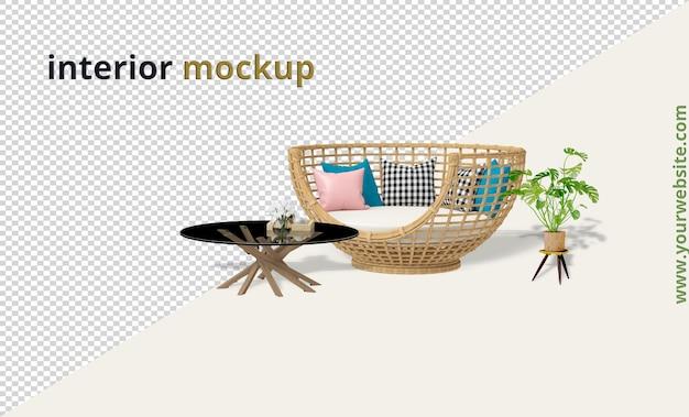 Poltrona com mesa e maquete de planta em renderização 3d