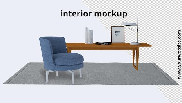 Poltrona com mesa e maquete de tapete em redering 3d