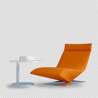 Poltrona e mesa laranja em renderização em 3d