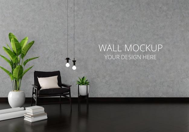Poltrona no interior da sala de estar com maquete de parede