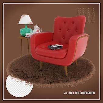 Poltrona vermelha com tapete marrom e mesa com abajur