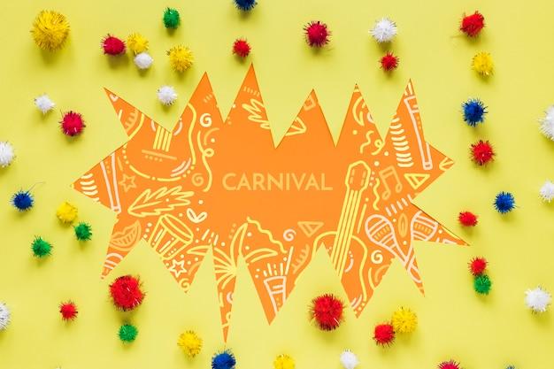 Pompons de carnaval brasileiro colorido