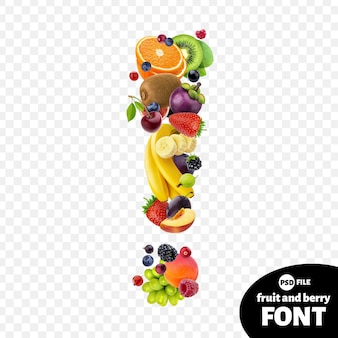Ponto de exclamação feito de frutas