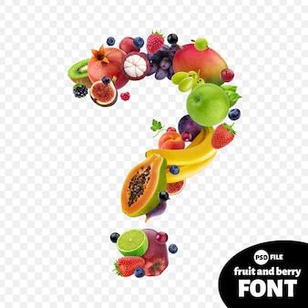 Ponto de interrogação feito de frutas
