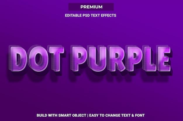 Ponto roxo - efeito de fonte de estilo de texto 3d psd