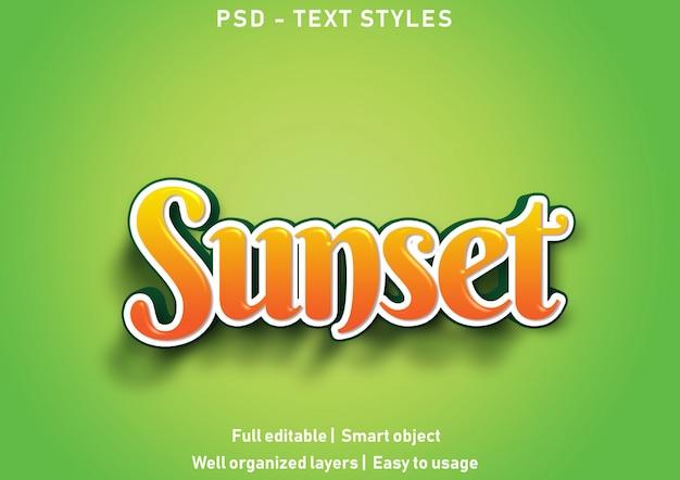 Pôr do sol efeitos de texto estilo psd editável