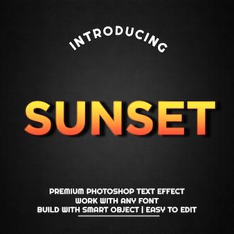 Pôr do sol - modelo de efeito de texto