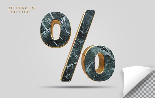 Porcentagem de pedra de textura de renderização em 3d com dourado