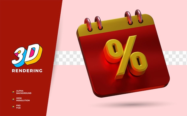 Porcentagem do dia de compras com desconto no festival de venda em flash ilustração do objeto renderização em 3d