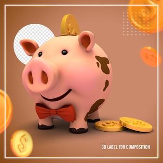 Porco rosa seguro com moedas