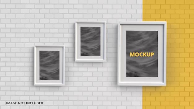 Porta-retrato com renderização de maquete de fundo de tijolo